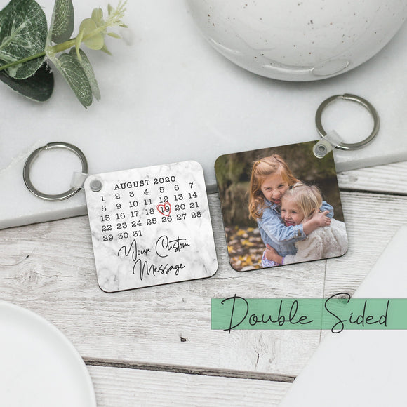 Personalised Calendar & Photo Keyring Keychain - Shop Personalised Engraved Gifts & Customised Cufflinks | From Willow