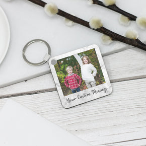 Personalised Photo and Custom Message Keyring - Shop Personalised Engraved Gifts & Customised Cufflinks | From Willow