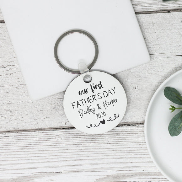 Personalised Father's Day Keyring, First Father's Day Keyring