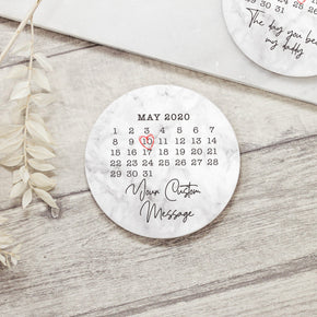 Personalised Special Date Calendar Ceramic Coaster - Shop Personalised Engraved Gifts & Customised Cufflinks | From Willow