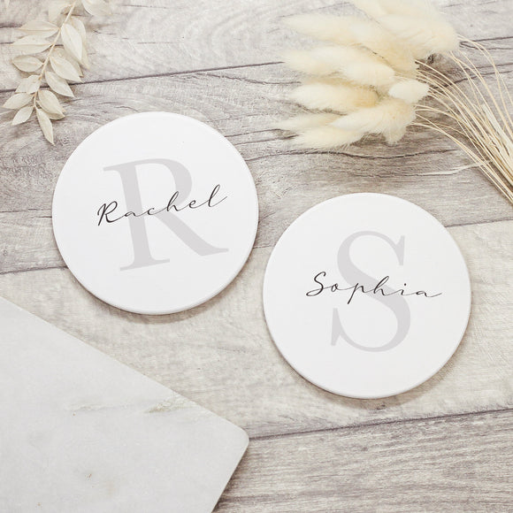 Personalised Initial Ceramic Coaster - Shop Personalised Engraved Gifts & Customised Cufflinks | From Willow