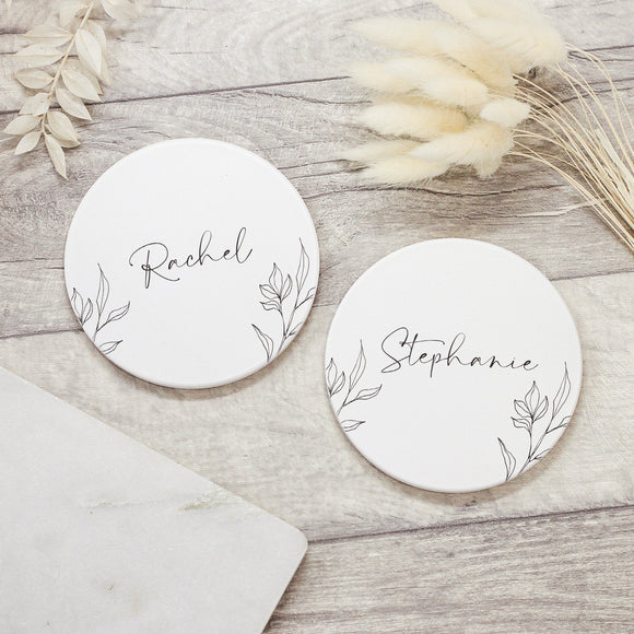 Personalised Subtle Name Ceramic Coaster - Shop Personalised Engraved Gifts & Customised Cufflinks | From Willow