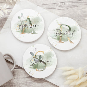 Personalised Floral Initial Ceramic Coaster - Shop Personalised Engraved Gifts & Customised Cufflinks | From Willow