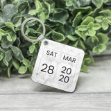 Personalised Calendar & Message Keyring, Custom Date Keychain