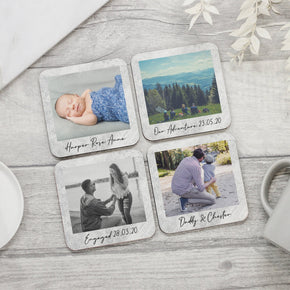 Personalised Photo & Message Coasters - Shop Personalised Engraved Gifts & Customised Cufflinks | From Willow