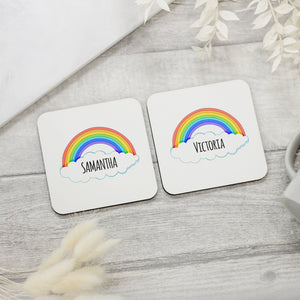 Personalised Rainbow & Name Coaster - Shop Personalised Engraved Gifts & Customised Cufflinks | From Willow
