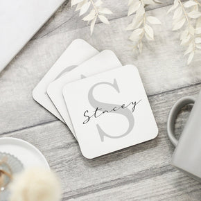 Personalised Subtle Grey Initial Coaster - Shop Personalised Engraved Gifts & Customised Cufflinks | From Willow