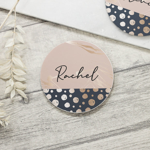 Personalised Name Abstract Ceramic Coaster - Shop Personalised Engraved Gifts & Customised Cufflinks | From Willow