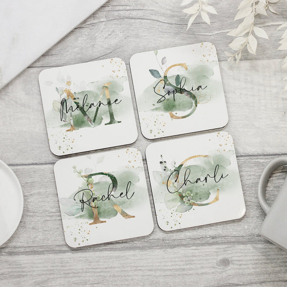 Personalised Floral Name Coaster - Shop Personalised Engraved Gifts & Customised Cufflinks | From Willow