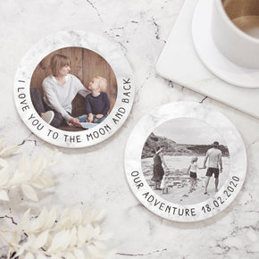 Personalised Ceramic Coaster, Custom Photo Coaster, Personalised Coaster Placemat, Photo & Message Ceramic Coaster