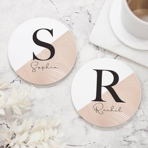 Personalised Initial & Name Ceramic Coaster, Abstract Coaster - Shop Personalised Engraved Gifts & Customised Cufflinks | From Willow