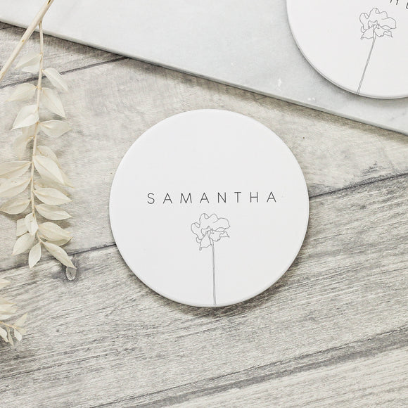 Personalised Subtle Flower Ceramic Coaster - Shop Personalised Engraved Gifts & Customised Cufflinks | From Willow