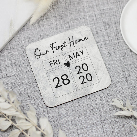 Personalised Our First Home Coaster - New Home Coasters - Shop Personalised Engraved Gifts & Customised Cufflinks | From Willow