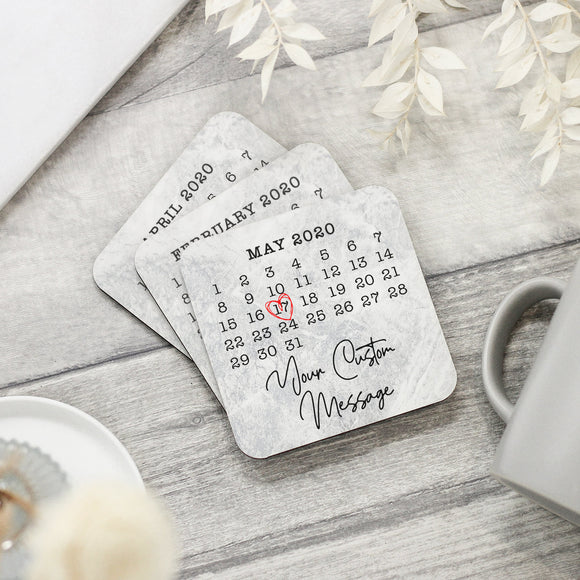 Personalised Special Date Calendar Coaster - Shop Personalised Engraved Gifts & Customised Cufflinks | From Willow