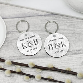 2x Personalised Our First Home Keyrings, New Home Keyrings
