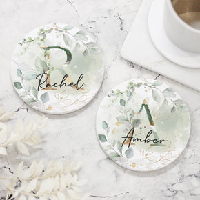 Personalised Floral Initial Name Ceramic Coaster - Shop Personalised Engraved Gifts & Customised Cufflinks | From Willow