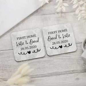 2x Personalised Our First Home Coaster Set - Shop Personalised Engraved Gifts & Customised Cufflinks | From Willow