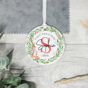 Personalised Baby's First Christmas Ornament, Babys 1st Christmas Rabbit