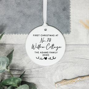 Personalised New Home Christmas Decoration, First Home Family Keepsake