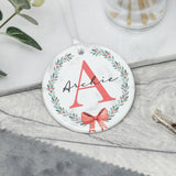Personalised Christmas Wreath Initial Ornament, Christmas Tree Decoration, Initial Name Keepsake, Christmas Tree Bauble Name Initial