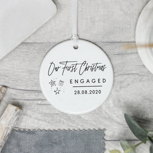 Personalised First Christmas Engaged Decoration, Engagement Keepsake Gift