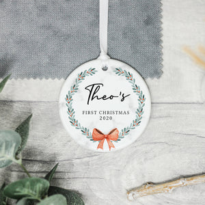 Personalised Baby's 1st Christmas Decoration, Babys First Christmas Wreath Ornament, New Baby Gift, First Christmas Christmas Bauble