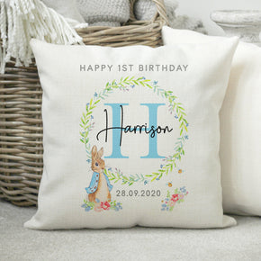 Personalised 1st Birthday Cushion, Baby's Birthday Cushion, First Birthday Gift, 1st Birthday Pillow, Rabbit Themed Gift, Birthday Present