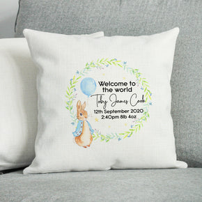 Personalised New Baby Cushion, Welcome To The World Cushion, New Baby Gift, New Born Baby Gift, Rabbit Themed Cushion, New Baby Present