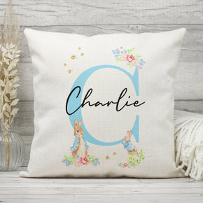 Personalised Initial Cushion, Rabbit Themed Name Cushion, Baby Name Pillow, New Baby Cushion, Rabbit Name Pillow
