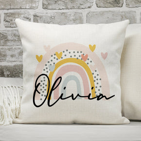 Personalised Name Cushion, Rainbow Cushion, Personalised Name Pillow, Rainbow & Name Cushion, Rainbow Pillow