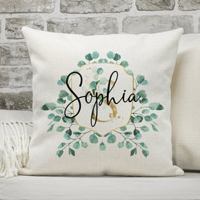 Personalised Name Cushion, Floral Name Cushion, Personalised Pillow, Custom Wreath Cushion, Birthday Gift, Birthday Pillow