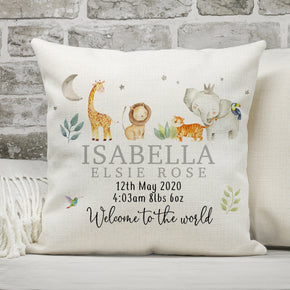 Personalised New Baby Cushion, Welcome To The World Cushion, New Baby Gifts, New Born Baby Gift, Animal Themed Cushion, New Baby Present