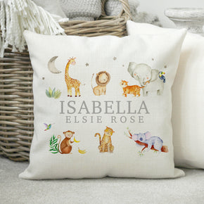 Personalised Name Cushion, Baby Cushion, New Baby Gift, New Born Baby Pillow, Animal Themed Cushion, Children's Cushion, Birthday Cushion