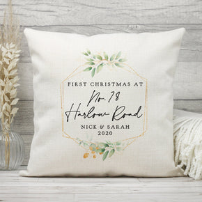 Personalised First Christmas Cushion, 1st Christmas Road Name Cushion, New Home Gift, First Home Christmas Gift, 1st Christmas Pillow