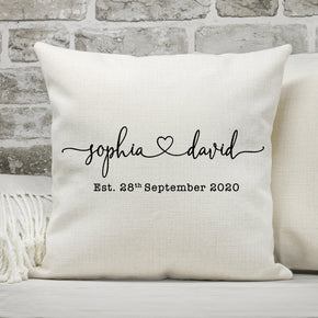 Personalised Names Cushion, Couple Love Cushion, Mr and Mrs Cushion Pillow, Anniversary Gift, Custom Names Pillow, Just Married Cushion