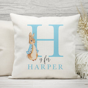 Personalised Initial Cushion, Rabbit Name Cushion, Baby Name Pillow, Name & Initial Cushion, Rabbit Name Pillow, Rabbit Gifts