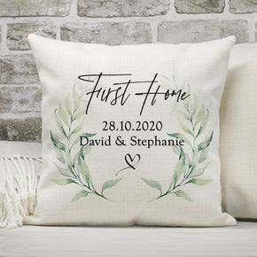 Personalised First Home Cushion, New Home Cushion, First Home Gifts, First Home Pillow, New Home Gifts, Home Cushions