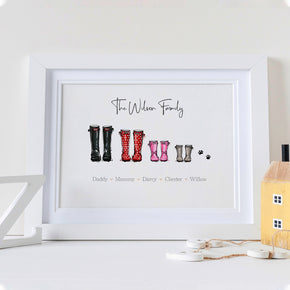 Personalised Family Print, Family Welly Print, Wellies Print, Family Names Print, Family Boot, Welly Boot Print, Valentines Print