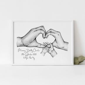 Personalised New Baby Print, New Parents Print, Family Hands Print, Special Date Print, Valentines Print, Couples Gift, New Born Gift