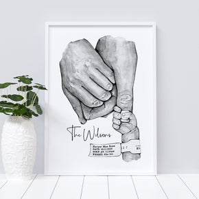 Personalised New Baby Print, Our Family Print , Family Hands Print, Special Date Print, Valentines Print, Family Print, New Born Gift