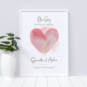 Personalised Song Lyrics Print, First Dance Print, Our Song Print, Valentines Gift, Lyrics Print, Couple Heart Print, Anniversary Gift
