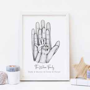 Personalised Family Print, Family Of 4 Print, Family Hands Print, Names Print, Valentines Print, Family Print, New Born Gift