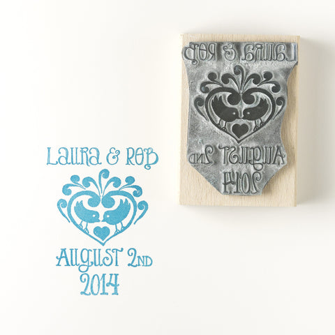 Small Two Birds  Heart Personalised Save the Date/Wedding Invitation Rubber Stamp