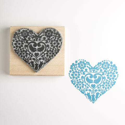 Two Birds Heart Rubber Stamp