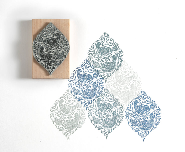 Sleepy Pigeons in the Willow Rubber Stamp, Handmade Bird Rubber Stamp, Garden Bird Stamp