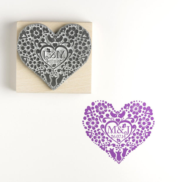 Two Birds Heart Personalised Save the Date/Wedding Invitation Rubber Stamp