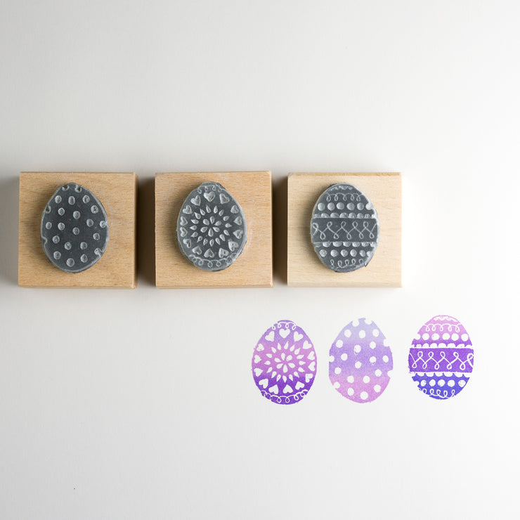 Set Of Three Little Eggs Rubber Stamps