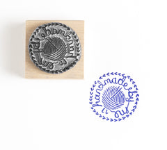 Hand Made By Me Crochet Rubber Stamp