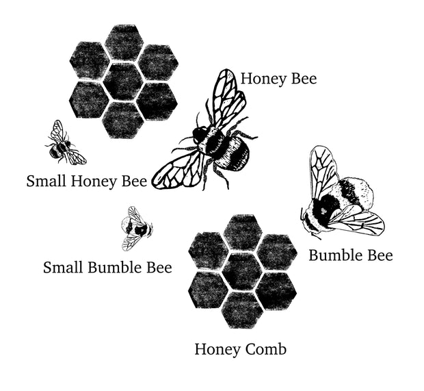 Bee and Honeycomb Rubber Stamps