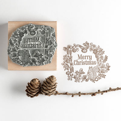 Christmas Rubber Stamp Squirrel Garland